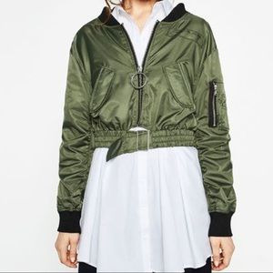 Cropped khaki bomber jacket